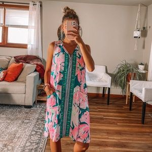 Lilly Pulitzer floral midi dress with gold zipper
